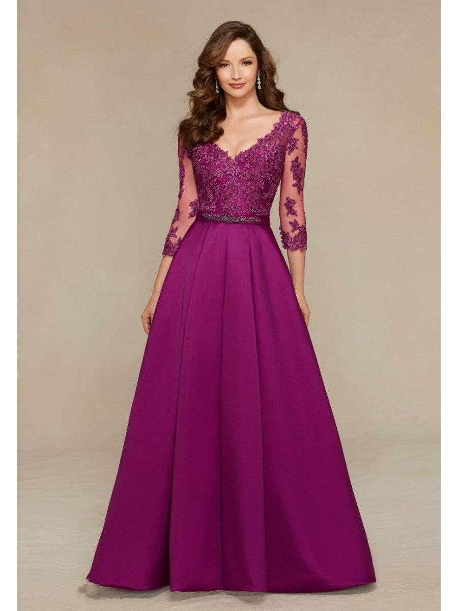 A-Line 3/4 Length Sleeve V-Neck Long Purple Satin and Lace Appliques ...