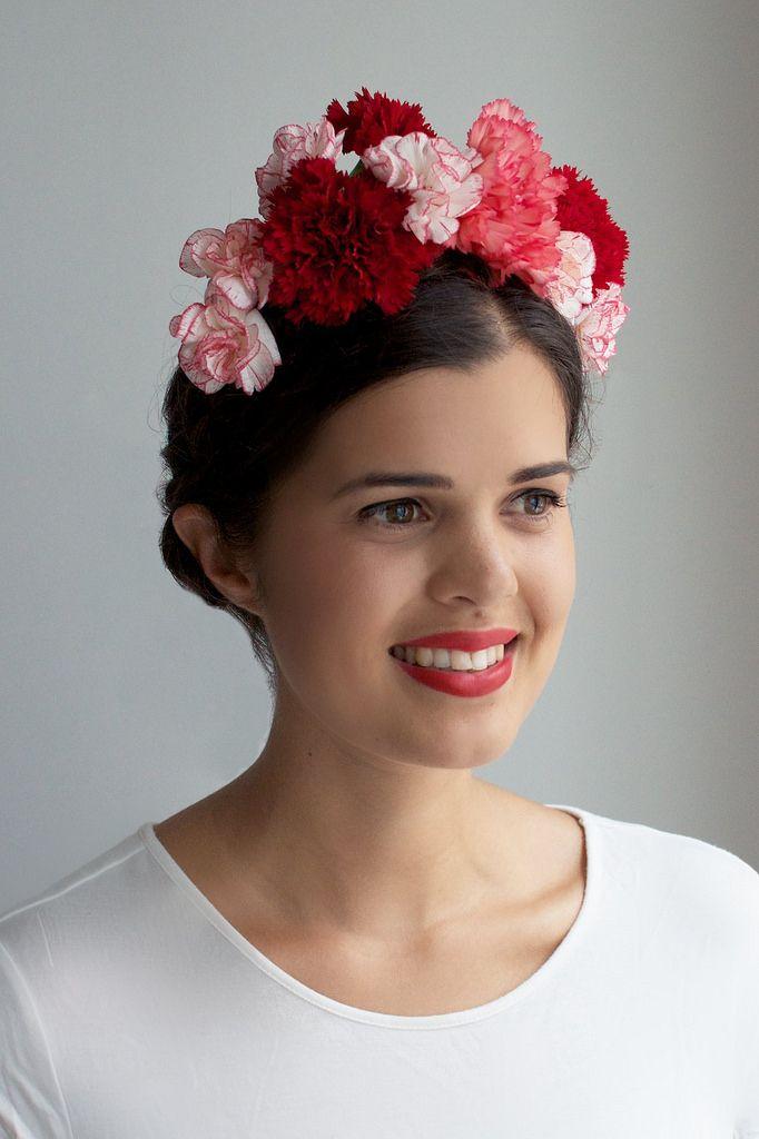 Diy Fresh Flower Crown Blumenkrone Frisur Frida Kahlo Hochzeit Blumen Frisuren