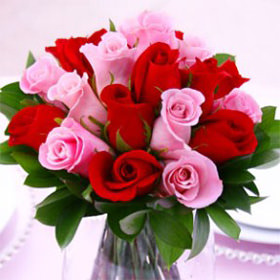 Beautiful Red And Pink Royal Wedding Rose Centerpieces Pink