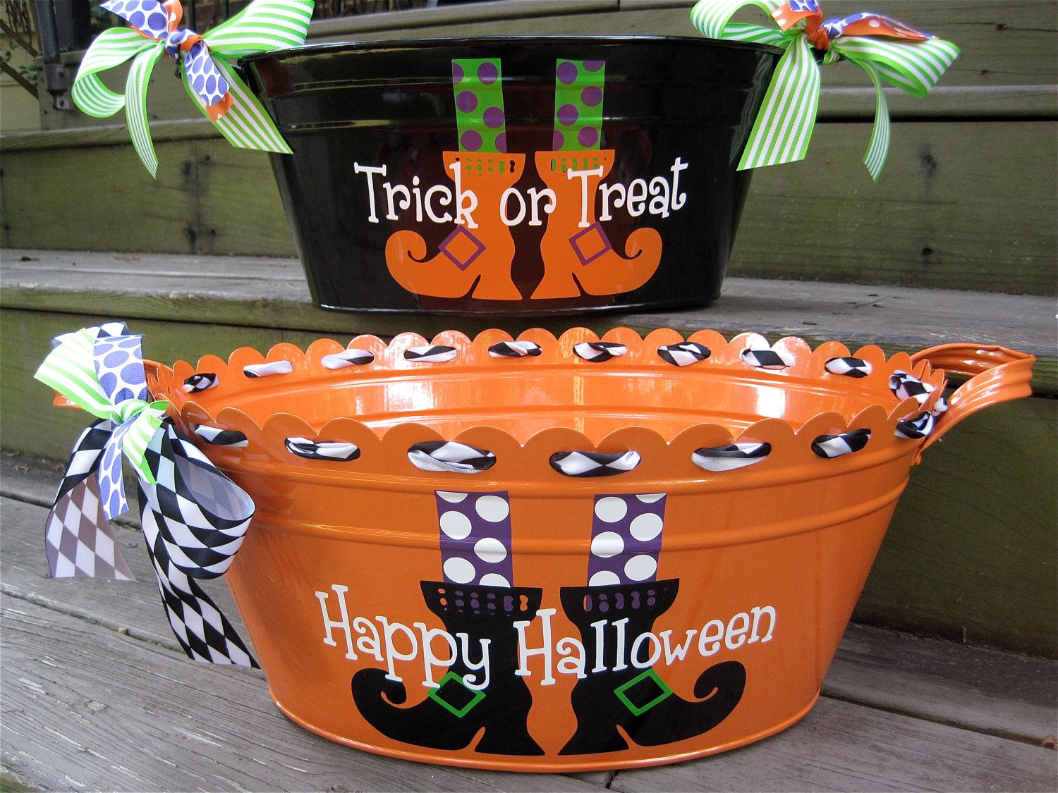 personalized halloween tubs many designs available 3100 via etsy - Personalized Halloween Decorations