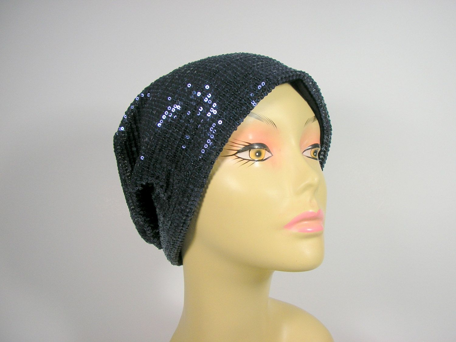 Navy Blue Sequin Slouch Hat 100% Cotton Lined Slouchy Beanie Chic ...