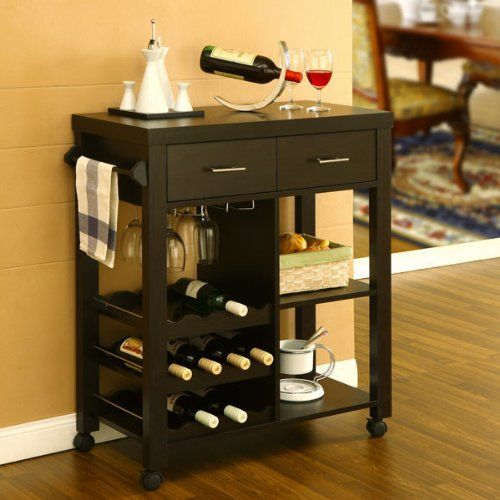 Best Wine Rack Anton Contemporary Mobile Kitchen Bar Cart Want