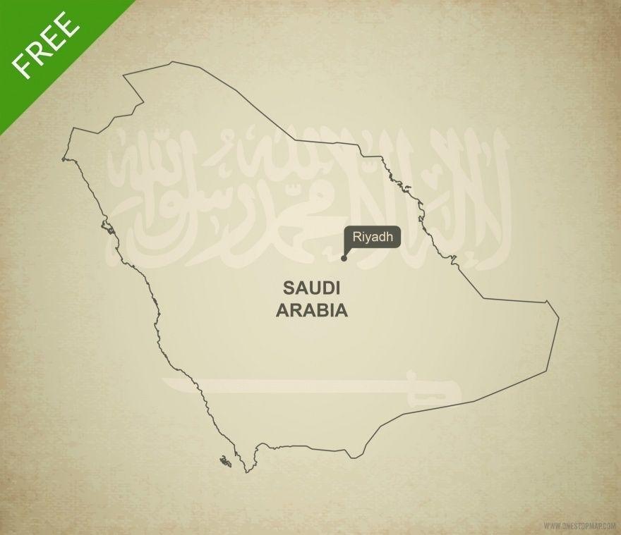 Free Vector Map Of Saudi Arabia Outline Map Vector Vector Free Map Outline