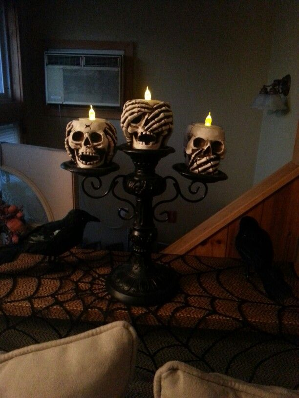 Skeletons Hear No Evil See No Evil Speak No Evil (Yankee Candle) with battery operated tea lights (Christmas Tree Shoppe)