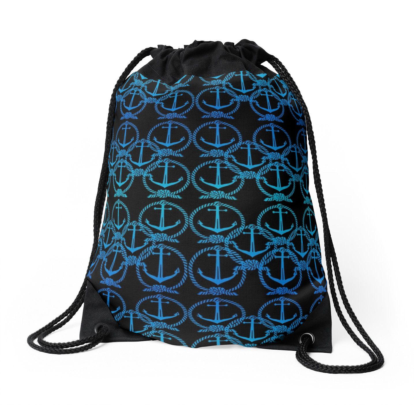 Nautical Blue Anchor Motif | Drawstring Bag