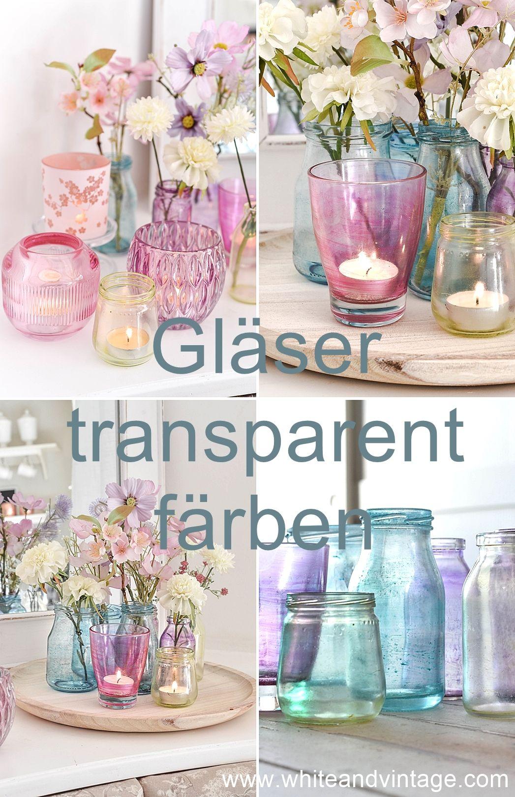 So färbt ihr Gläser und Flaschen transparent