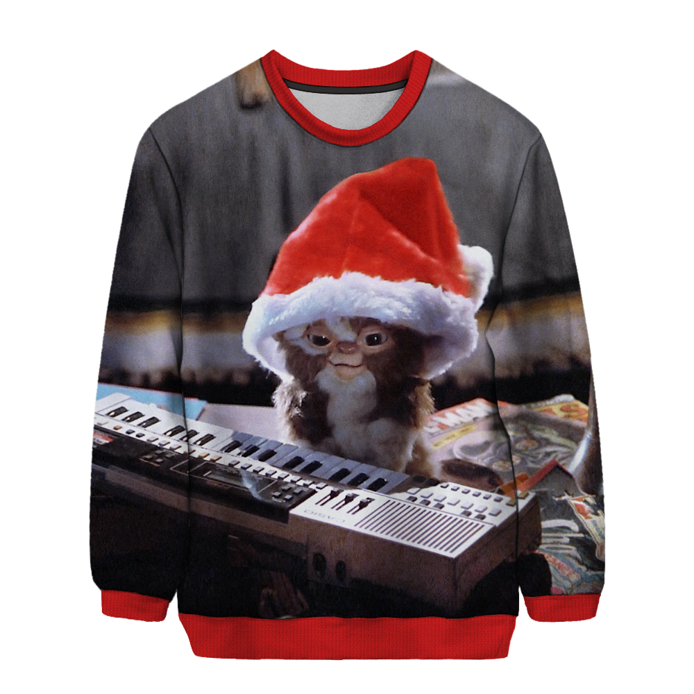 Gizmo Christmas Sweater Gremlins Holiday Fury Size L Geek