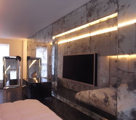 Bedroom Wall with Anitiqued Mirror Glass. Bedroom Wall with Anitiqued Mirror Glass   Wilson Marz   Pinterest
