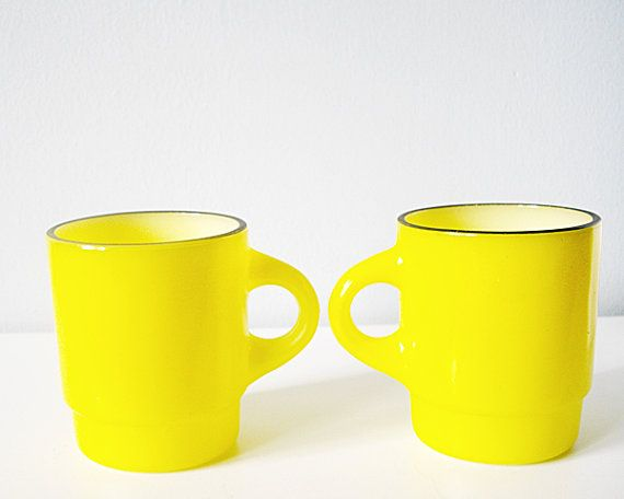 Two vintage Fireking cups neon lemon yellow - Fire king vintage mug ...