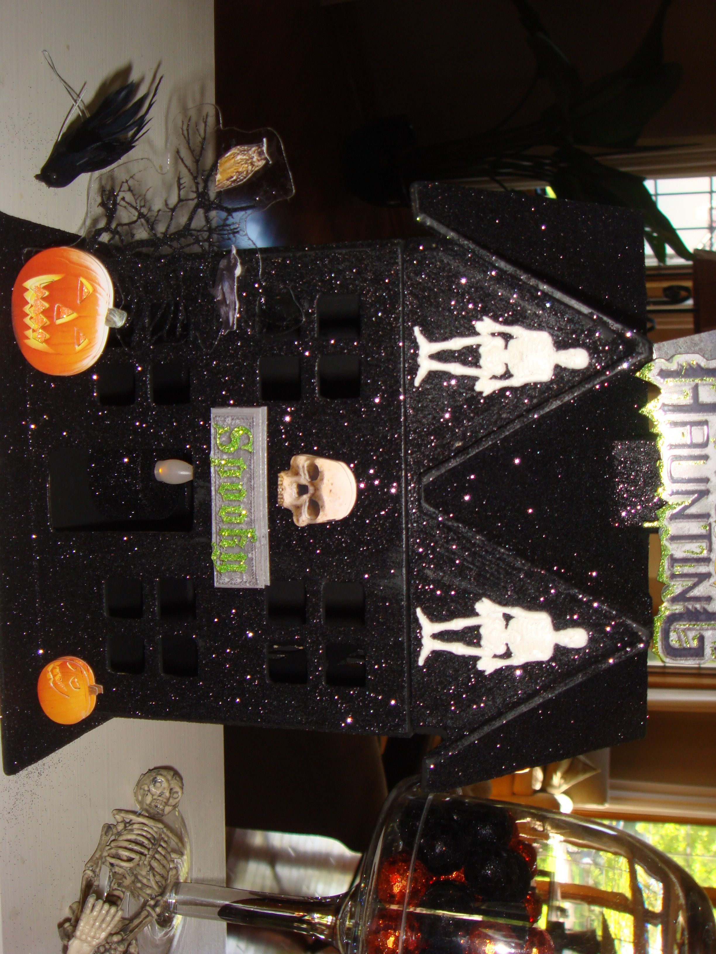 Halloween housePremade paper mache house from Hobby Lobby, paint