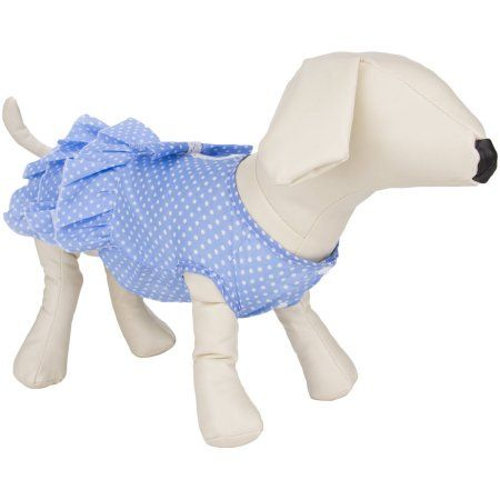 Cuecuepet Blue with White Polka Dots Casual Everyday Dress for Female/Girl Dogs and Puppies
