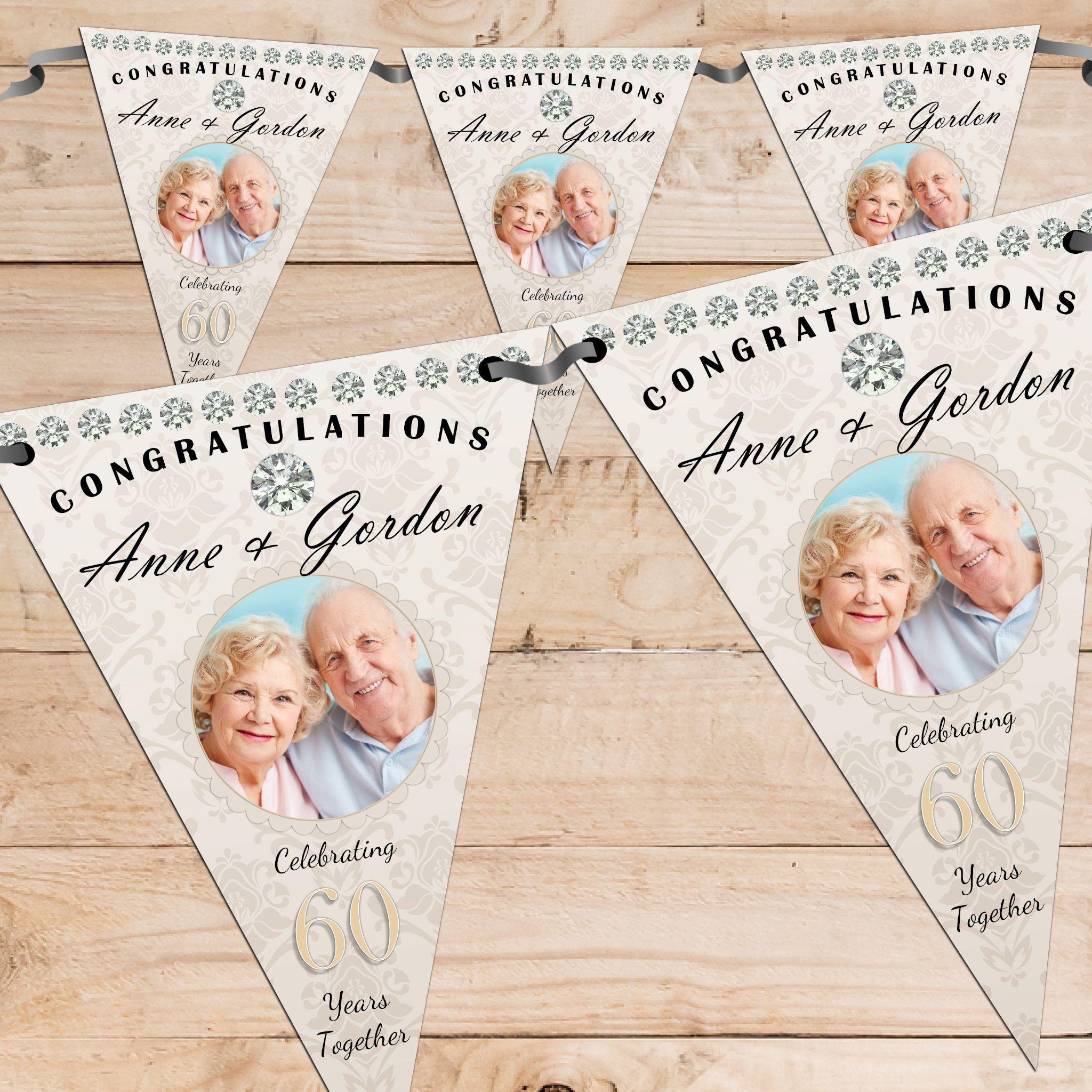 Personalised Diamond 60th Wedding Anniversary Celebration Photo