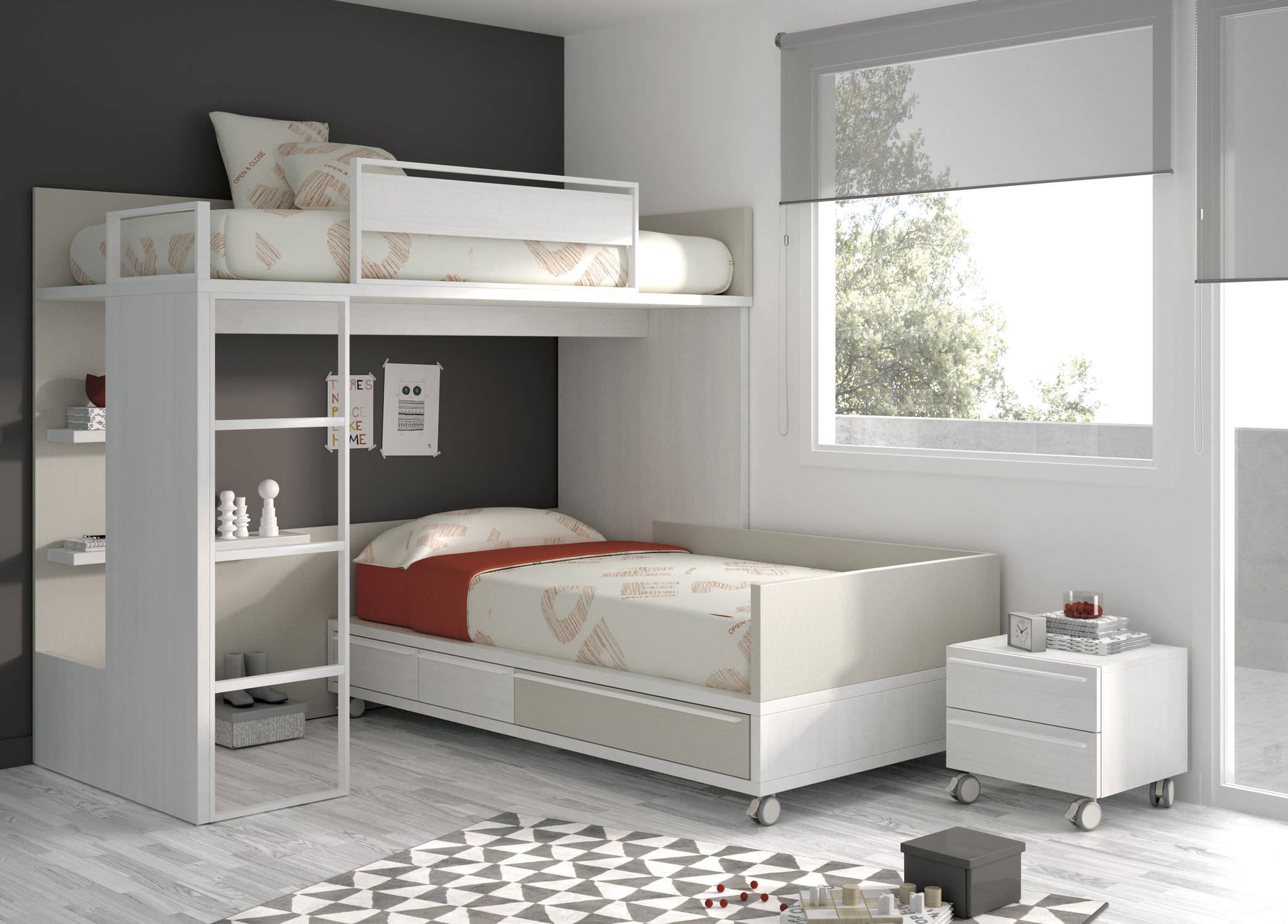 Best Single Bed Corner Bunk Contemporary With Shelf Touch 400 x 300