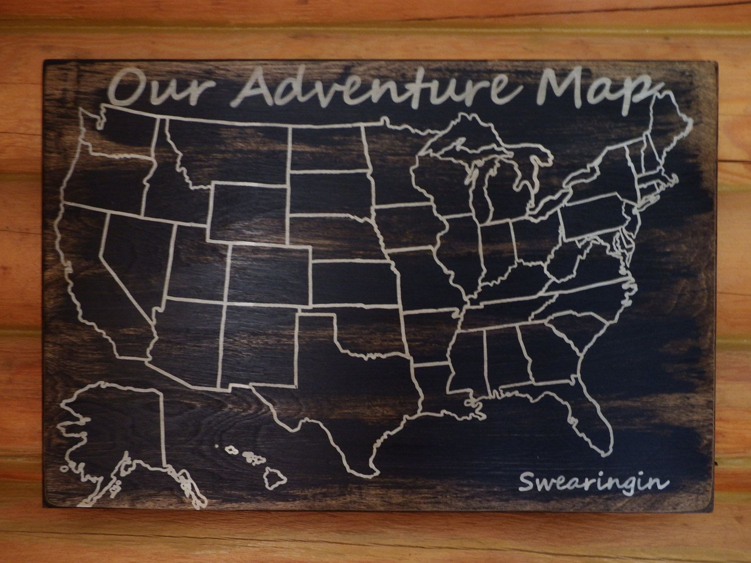Travel Map | US Wood Map | USA Travel Map | Personalized | Pin Map ...