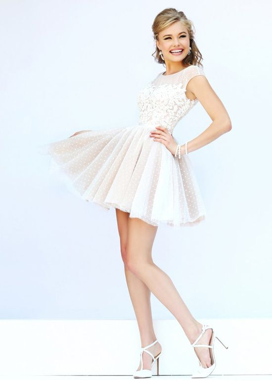 High Illusion Neck Cap Sleeves Ivory Nude Homecoming Dress 2015 ...
