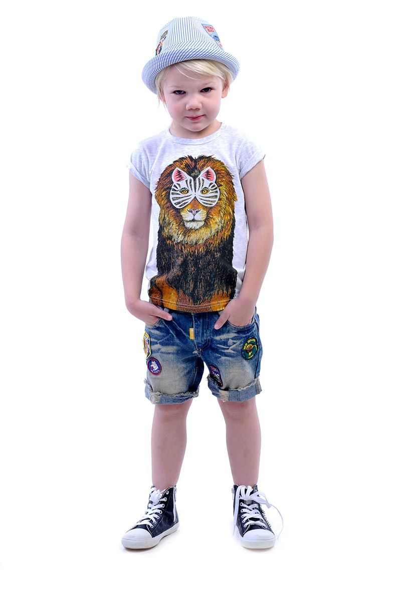 Masked Lion tee (Collaboration with Sandra Dieckmann) denim Kerouac Shorts and Traveller Fedora in blue pinstripe | Rock Your Kid summer 14 / 15 |