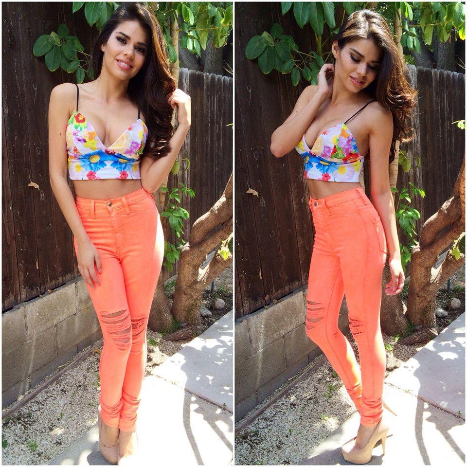 Neon orange skinny jeans