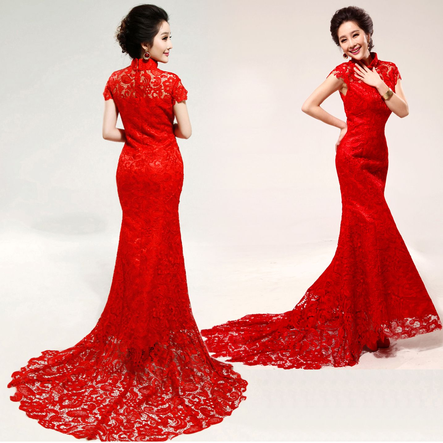 Red lace trailing party dress Chinese mandarin collar red bridal ...