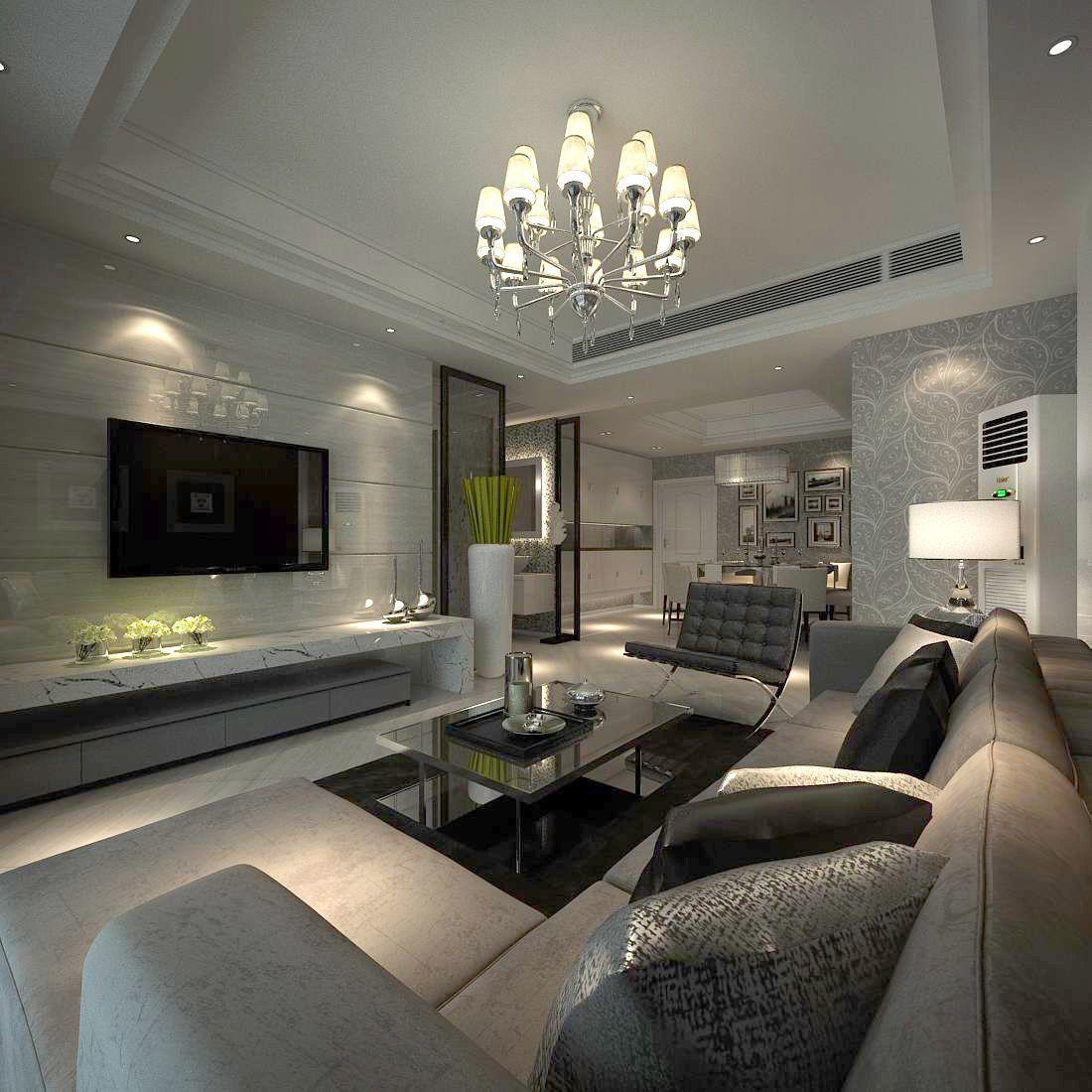Avant Garde Luxury Family Living Room 34 3d Model In