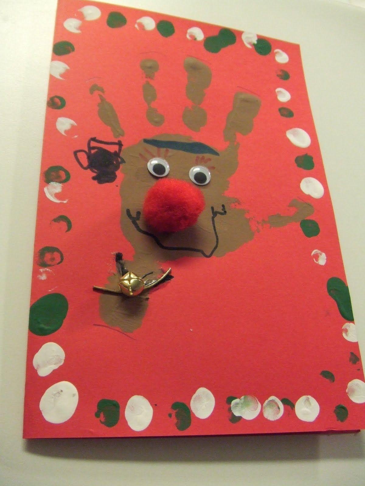 Tarjetas de navidad hechas a mano huella tarjetas y navidad - Tarjeta de navidad para ninos manualidades ...