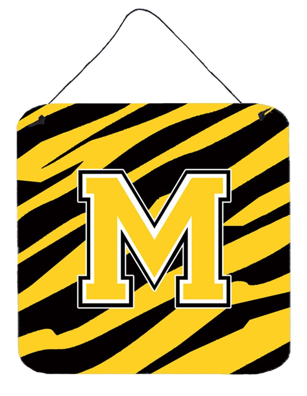 Letter m initial tiger stripe black gold wall or door hanging