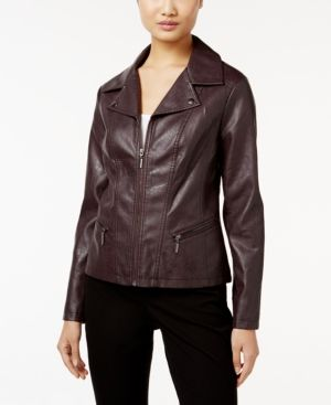 A Mini Moto Style Collar Makes Alfani S Faux Leather Jacket A Chic Topper For Faux Leather Moto Jacket Blazer Jackets For Women Faux Leather Motorcycle Jacket