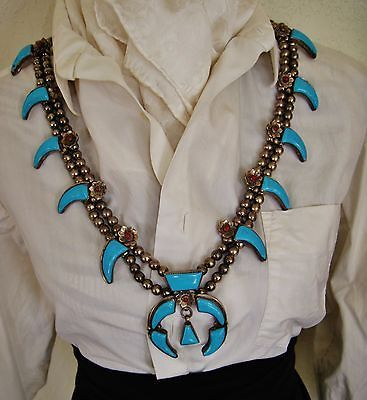 NAVAJO-SQUASH-BLOSSOM-TURQUOISE-BEAR-CLAWS-SIGNED-NECKLACE-305gr-GLENN-ADECKY