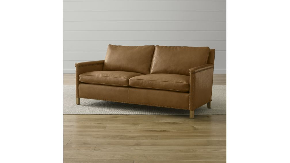 Trevor Leather Apartment Sofa | Crate And Barrel