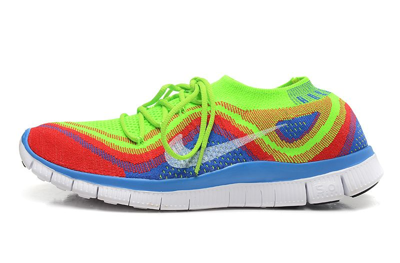 Womens Nike Free Flyknit 3.0 Electric Green Summit White Bright Crimson  Dodger Blue 615805 316 -