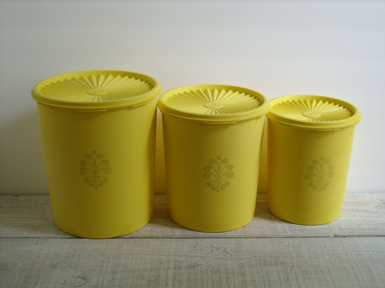 Yellow Canister Sets Kitchen Vintage Yellow Tupperware Canister Set 70s Kitchen Decor