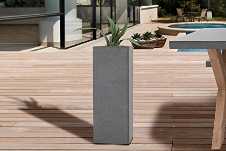 design s ule cement 70cm in und outdoor pflanzk bel beton optik blumenk bel wetterfest. Black Bedroom Furniture Sets. Home Design Ideas