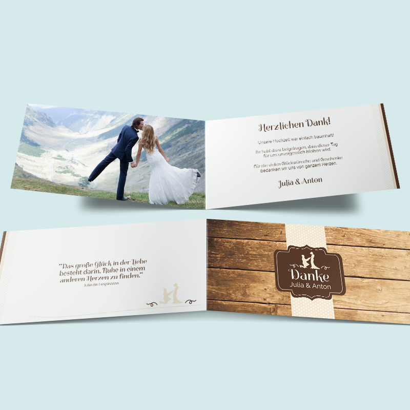 Glück gefunden Hochzeit Dankeskarten gestalten & drucken lassen