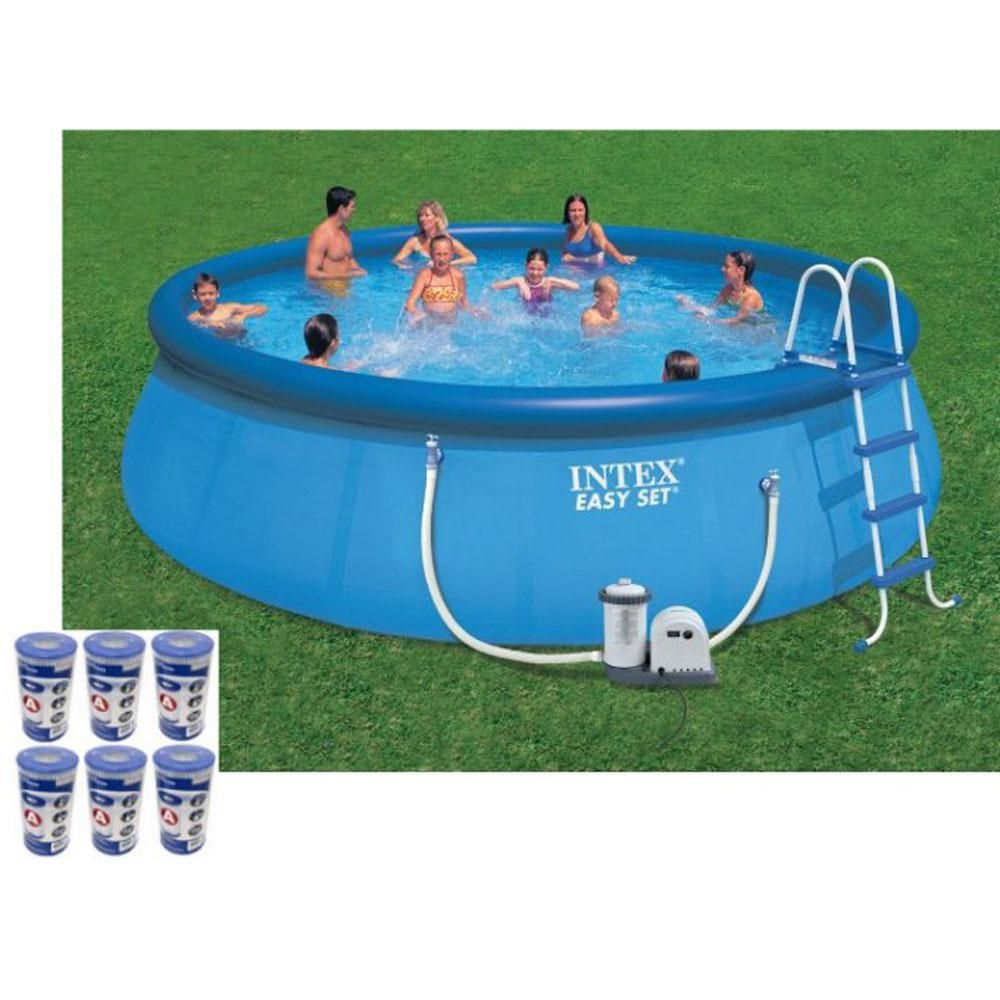 Intex 18 ft. x 48 in. Easy Set Swimming Pool Kit with 1500 ...