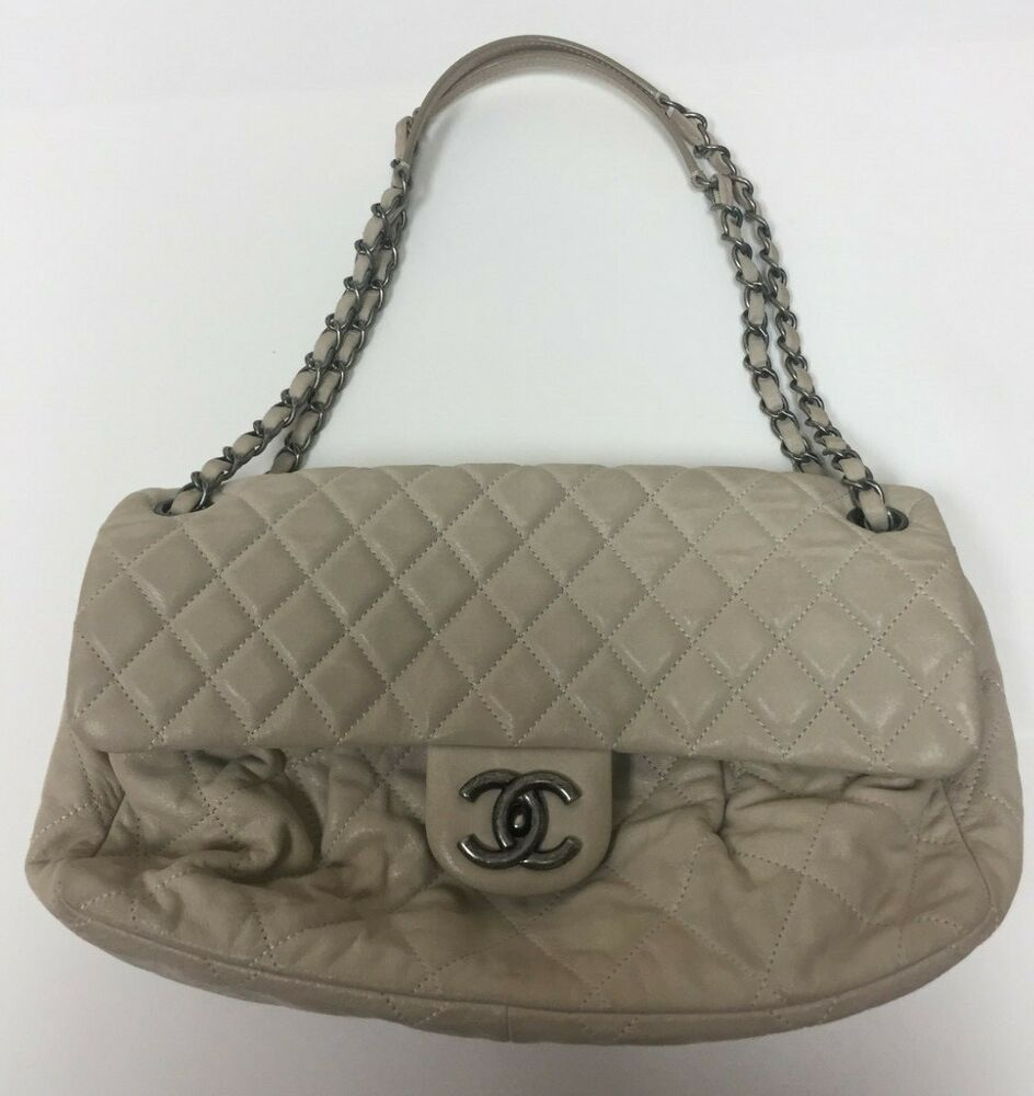 Chanel purse beige color quilted leather euc leather