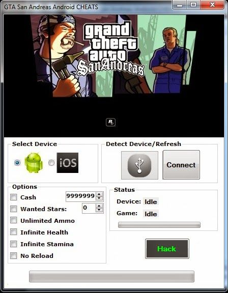Grand theft auto san andreas hack allows you to gain unlimited items