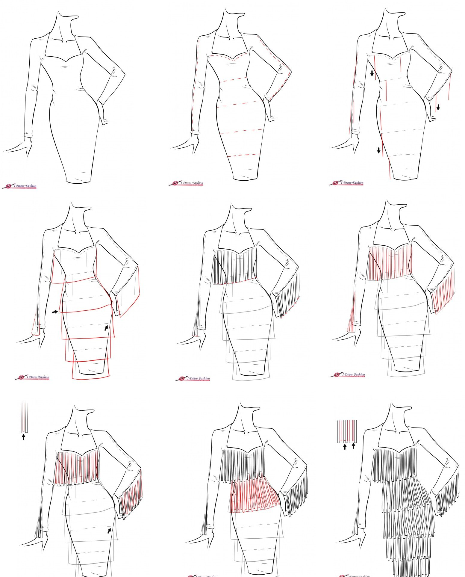 A Step By Step Tutorial On How To Draw Fringe Dress Fashion Drawing Tutorial Fashion Illustrations Techniques Dress Design Sketches