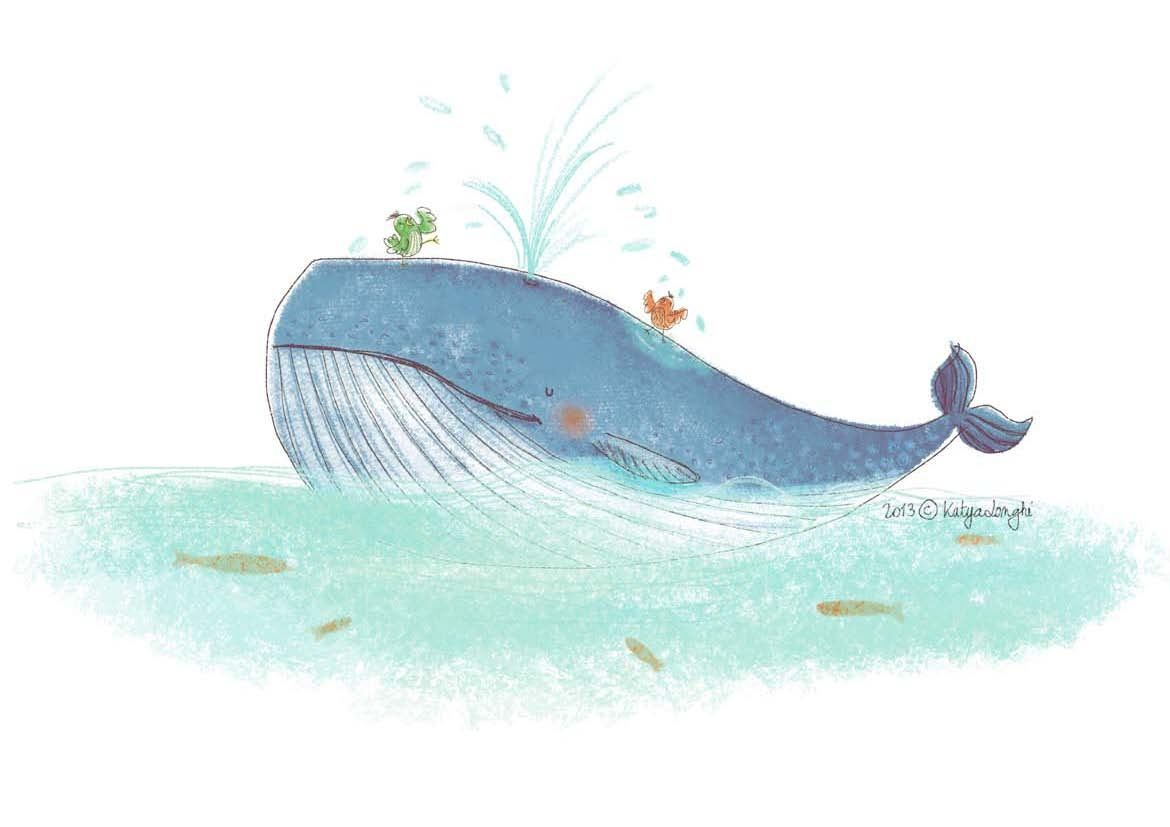 Whale, birds taking a shower, sea, fish.  Katya Longhi. :)