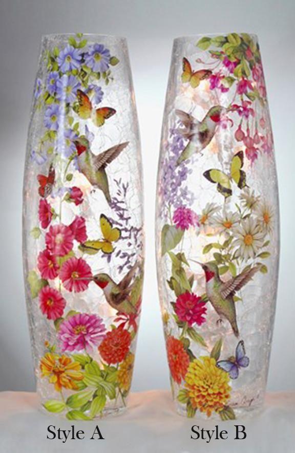 Stony Creek Hummingbird Ii Collection Lighted Tall Vase 2 Styles
