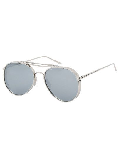 7f05c475a55 Silver Thick Frame Double Bridge Retro Style Sunglasses