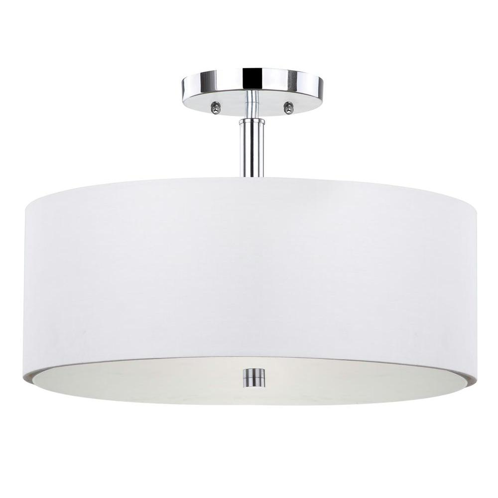 Hampton Bay 14 In 3 Light Brushed Nickel Semi Flush Mount With White Glass Drum Shade 89543 The Home Depot Semi Flush Mount Lighting Flush Mount Lighting Drum Shade