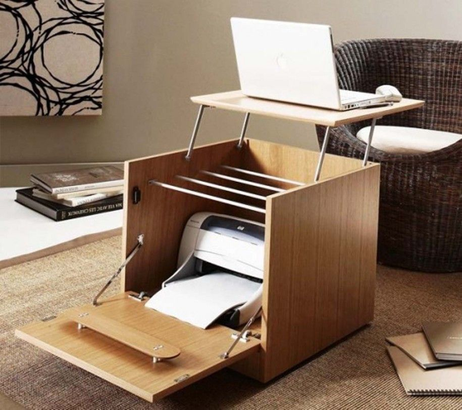 Fetching Furniture Ideas For Small Spaces : Fetching Smart Folding Computer  Desk Printer Storage Into Wood