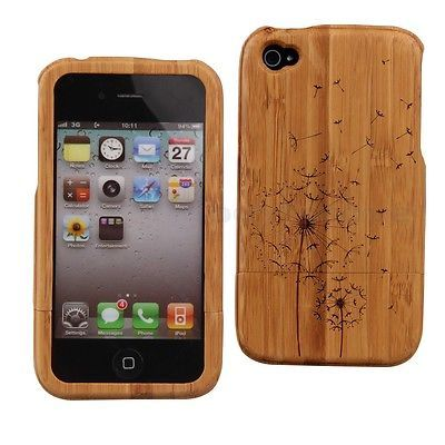 Bamboo Wood Wooden Dandelion Hard Back Case Cover Skin for Apple iPhone 4 4S 4G