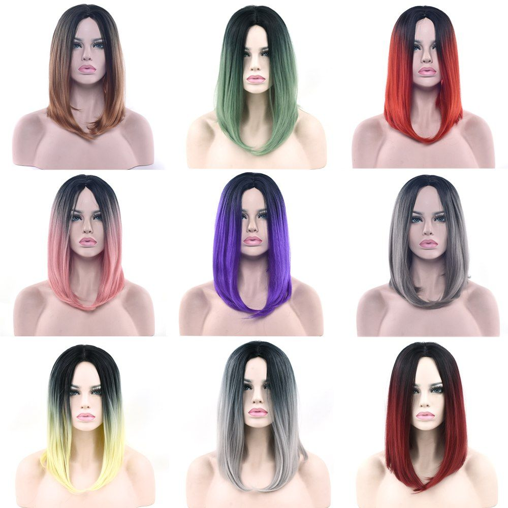 Nice Soowee Synthetic Hair Black To Brown Ombre Color Short Straight Wigs High Temperature Fiber Bob Cosplay Wig For Women Hair Extensions & Wigs Synthetic Wigs