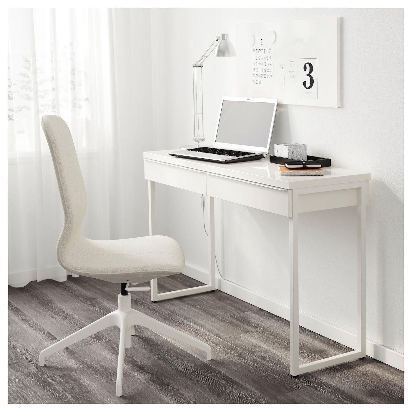 Besta Burs Desk High Gloss White 47 1 4x15 3 4 Ikea Ikea White Desk Home Office Furniture High Gloss White