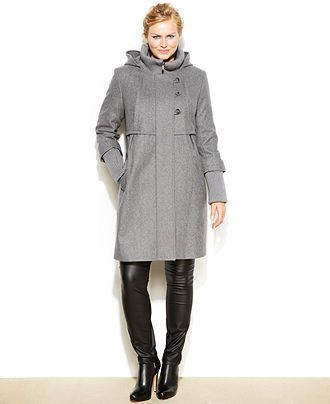 DKNY Plus Size Hooded Wool-Blend Babydoll Coat - New Arrivals ...