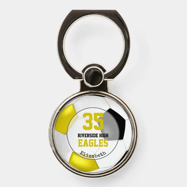 black gold white simple soccer ball personalized phone ring stand