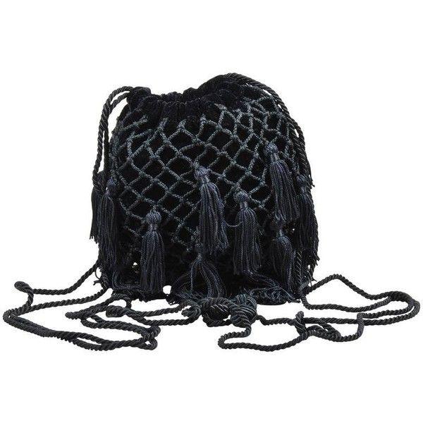 4a63dabe66ed Preowned Vintage Bottega Veneta Black Velvet Woven Tassel Drawstring...  ( 172) ❤ liked on Polyvore featuring bags