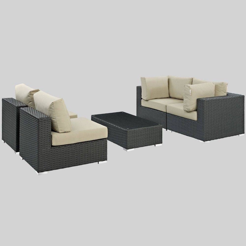 Sojourn 5pc Outdoor Patio Sectional Set With Sunbrella Fabric