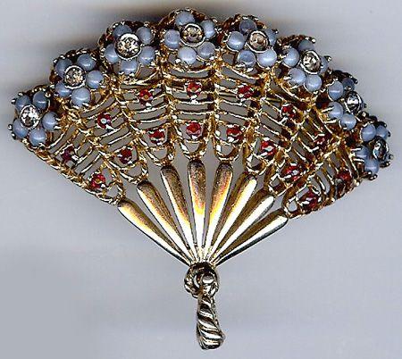 Vintage Designer Quality Rhinestone Jeweled Flowers Gold Tone Fancy Fan Pin Jeweled Flowers Vintage Jewelry Repurposed Fan Jewelry