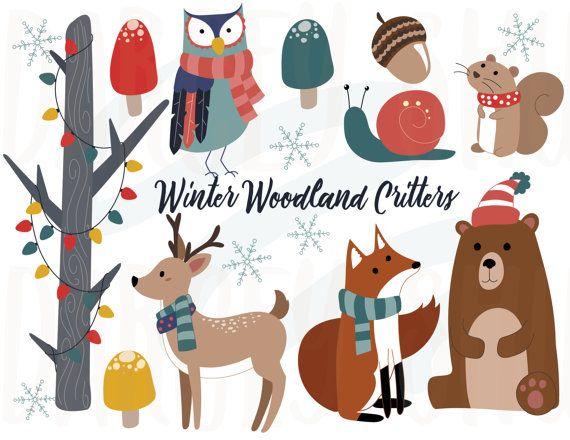 Winter Woodland Critters Clipart Winter Animals Christmas Etsy Woodland Critters Winter Woodland Clip Art